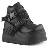 Black Vegan 12 cm STOMP-15 lolita ankle boots wedge platform