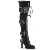 Black Velvet 9,5 cm GLAM-300 High Heeled Overknee Boots