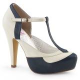 Blauw 11,5 cm BETTIE-29 Pinup pumps schoenen met verborgen plateauzool