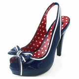 Blauw 11,5 cm retro vintage BETTIE-05 damesschoenen met hoge hak