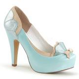 Blauw 11,5 cm retro vintage BETTIE-20 Pinup pumps schoenen met verborgen plateauzool