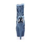 Blauw 15 cm DELIGHT-1030 canvas sneakers met hoge hakken