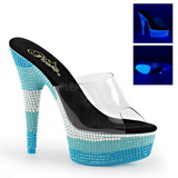 Blauw 15 cm DELIGHT-601UVS neon plateau slippers dames met hak
