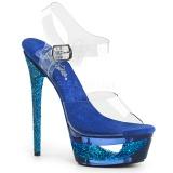 Blauw 16,5 cm ECLIPSE-608GT Sandalen met stiletto hak