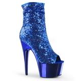 Blauw 18 cm ADORE-1008SQ dames enkellaarsjes met pailletten