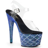 Blauw 18 cm ADORE-708MSLG glitter plateau sandalen met hak