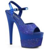 Blauw 18 cm ADORE-709-2G glitter plateau sandalen met hak