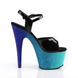 Blauw 18 cm ADORE-709OMBRE glitter plateau sandalen met hak