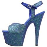 Blauw 18 cm ADORE-710LG glitter plateau schoenen dames met hak