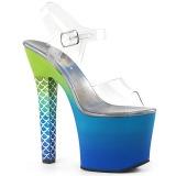 Blauw 18 cm ARIEL-708OMBRE Acryl plateau schoenen dames met hak