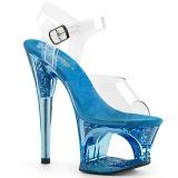 Blauw 18 cm MOON-708GFT glitter plateau sandalen met hak