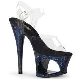 Blauw 18 cm MOON-708HSP Hologram plateau schoenen dames met hak
