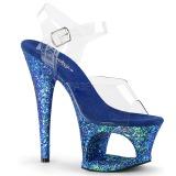 Blauw 18 cm MOON-708LG glitter plateau hoge hakken