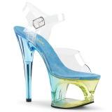 Blauw 18 cm MOON-708MCT Acryl plateau schoenen dames met hak
