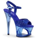 Blauw 18 cm MOON-710GT glitter plateau hoge hakken