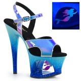 Blauw 18 cm MOON-711MER Neon plateau schoenen dames met hak