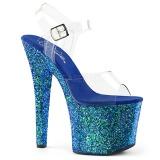 Blauw 18 cm RADIANT-708LG glitter schoenen met hakken