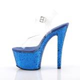 Blauw 18 cm SKY-308LG glitter plateau schoenen dames met hak