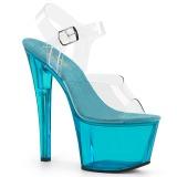Blauw 18 cm SKY-308T-2 Acryl plateau schoenen dames met hak