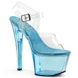 Blauw 18 cm SKY-308T Acryl plateau schoenen dames met hak