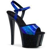 Blauw 18 cm SKY-309HG Hologram plateau schoenen dames met hak