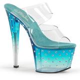 Blauw 18 cm STARDUST-702T Strass steentjes plateau slippers dames
