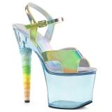 Blauw 18 cm UNICORN-711T Acryl plateau schoenen dames met hak