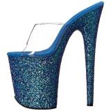 Blauw 20 cm FLAMINGO-801LG glitter plateau slippers dames met hak