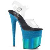 Blauw 20 cm FLAMINGO-808-2HGM glitter plateau sandalen met hak