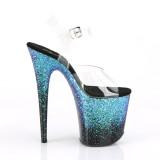 Blauw 20 cm FLAMINGO-808SS glitter plateau sandalen met hak