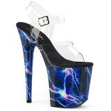 Blauw 20 cm FLAMINGO-808STORM Hologram hoge hakken schoenen pleaser
