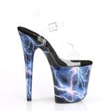 Blauw 20 cm FLAMINGO-808STORM Hologram plateau schoenen dames met hak