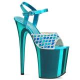 Blauw 20 cm FLAMINGO-809MMRS glitter plateau sandalen met hak