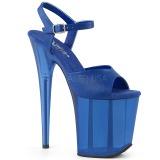 Blauw 20 cm FLAMINGO-809T Acryl hoge hakken schoenen pleaser