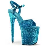 Blauw 20 cm FLAMINGO-810LG glitter plateau schoenen dames met hak