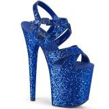 Blauw 20 cm FLAMINGO-897LG glitter hoge hakken schoenen pleaser