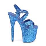 Blauw 20 cm FLAMINGO-897LG glitter plateau schoenen dames met hak