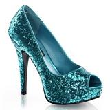Blauw Glitter 13,5 cm TWINKLE-18G Plateau Pumps Hoge Hak Peep Toe