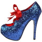 Blauw Glitter 14,5 cm Burlesque TEEZE-10G Platform Pumps Schoenen