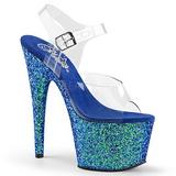 Blauw Glitter 17 cm ADORE-708LG Plateau Sandalen met Hoge Hak