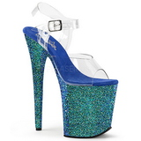 Blauw Glitter 20 cm FLAMINGO-808LG Plateau Sandalen met Hoge Hak