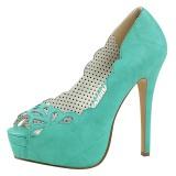 Blauw Kunstleer 13,5 cm BELLA-30 pumps schoenen open teen