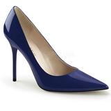 Blauw Lak 10 cm CLASSIQUE-20 naaldhak pumps met puntneus