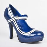 Blauw Lak 12 cm PINUP SECRET-15 Mary Jane Plateau Pumps Hoge Hak