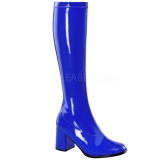 Blauw Lak 8,5 cm GOGO-300 Dameslaarzen met hak voor Heren