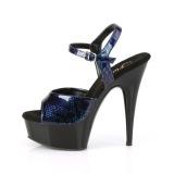 Blauw Lakleer 15 cm DELIGHT-609SP pleaser sandalen met plateau