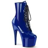 Blauw Lakleer 18 cm ADORE-1020 dames enkellaarsjes met plateau