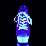Blauw Neon 15 cm DELIGHT-600SK-01 canvas sneakers met hoge hakken