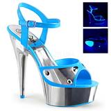 Blauw Neon 15 cm DELIGHT-609NC Sandalen met Chroom Plateau