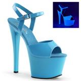 Blauw Neon 18 cm Pleaser SKY-309UV Plateau Hoge Hakken